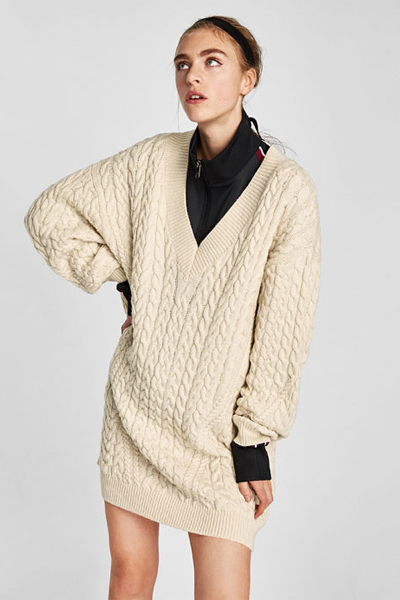Robe pull zara blanche